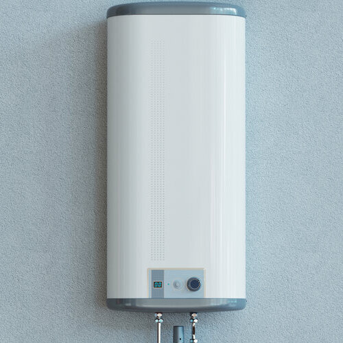 water heater against grey wall