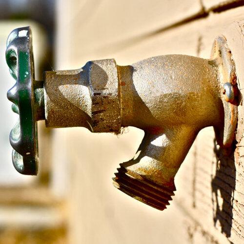 close up of hose bib outdoors